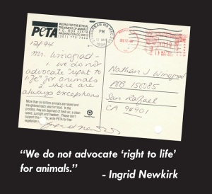 postcard mailed to Nathan Winograd by Ingrid Newkirk